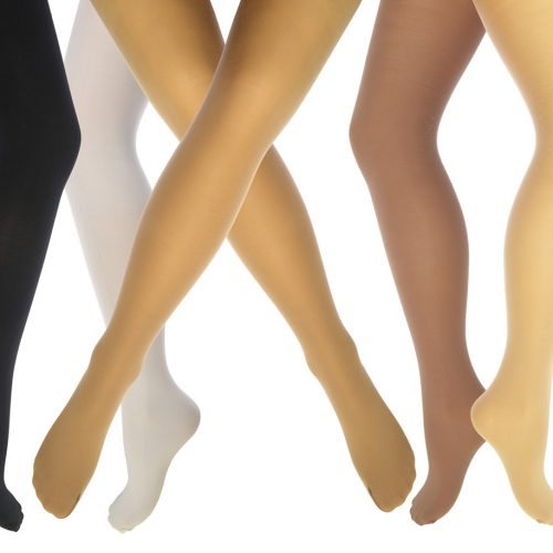 Covered elastic yarns illustrated by tights on legs